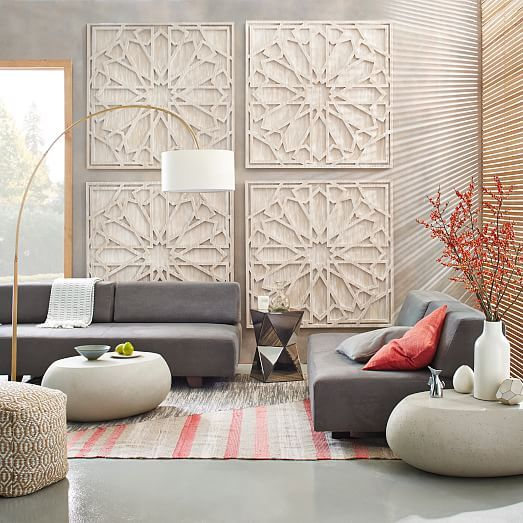 Graphic Wood Wall Art  Whitewashed (Square) is part of Living Room Art Large - Think big  Inspired by geometric stone carvings, this grand Graphic Wood Wall Art adds pattern and texture to spaces in need of some drama
