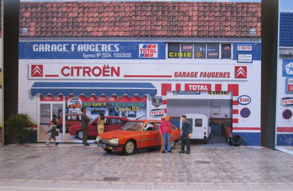 Diorama citroen 1 43 garage faugeres diorama pour la rue citro n dyane 2cv ds sm - Garage miniature citroen ...