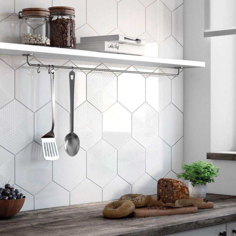 Faience Mur Blanc Hexa L 17 5 X L 20 Cm Credence Cuisine