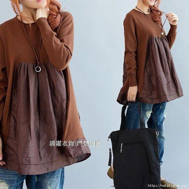 К старому свитеру добавим подходящую по цвету ткань: на спинке-переде и по бокам