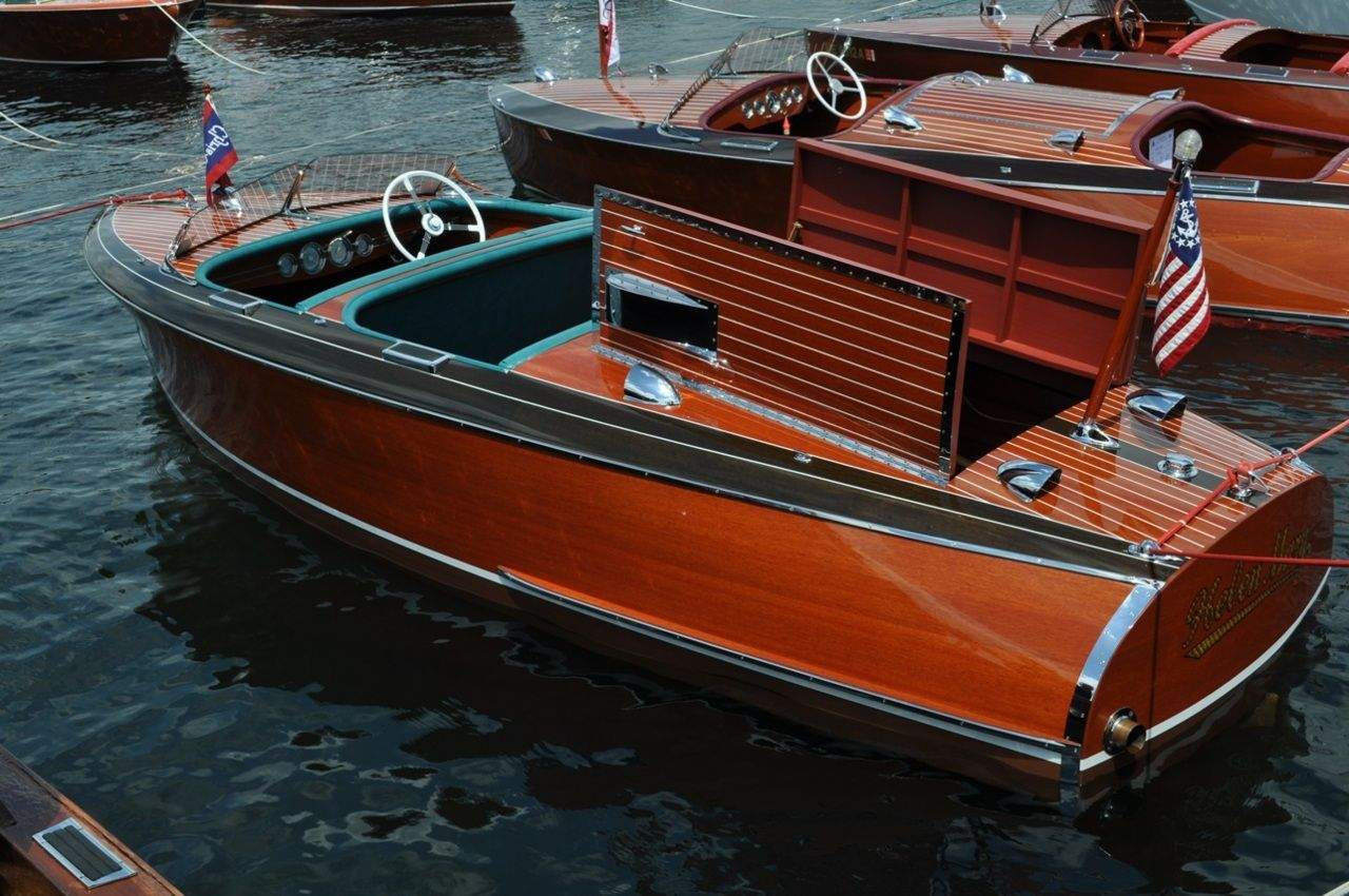 Cris Craft Wooden Boats Are Used On Our Lake One Man Rides By With
