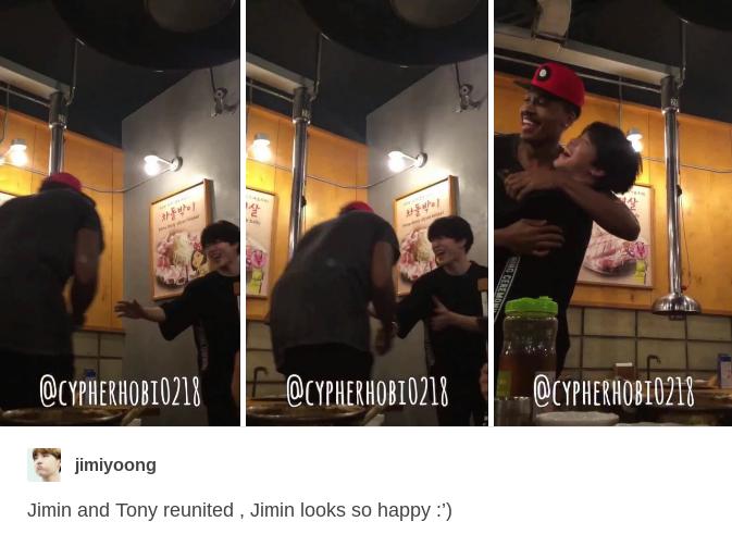 JIMIN AND TONY REUNITE!!! Jimin looks so happy in that last photo, my heartu!!