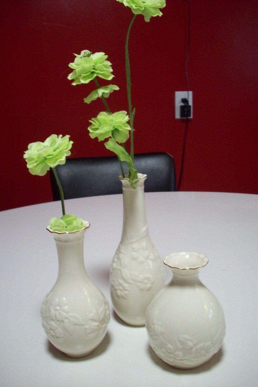 Lenox bud vases set of 3 vase pinterest lenox floral bud vase ivory and gold porcelain vase set of lenox ivory bud vases with gold trim raised flower and leaf pattern by upcycledcottagedecor on floridaeventfo Image collections
