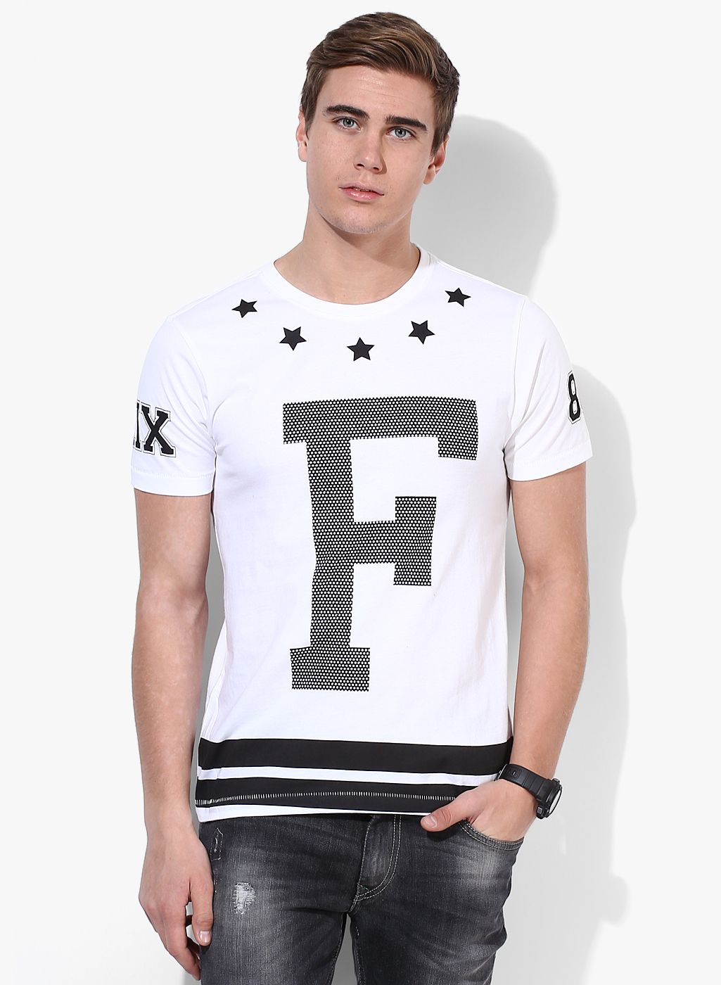 cf13d238a9547 Buy Flying Machine White Printed Round Neck T-Shirt for Men Online India