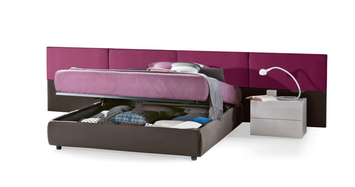 Victor Storage Bed - shown with BASIC storage lever and OPTIONAL headboard panels