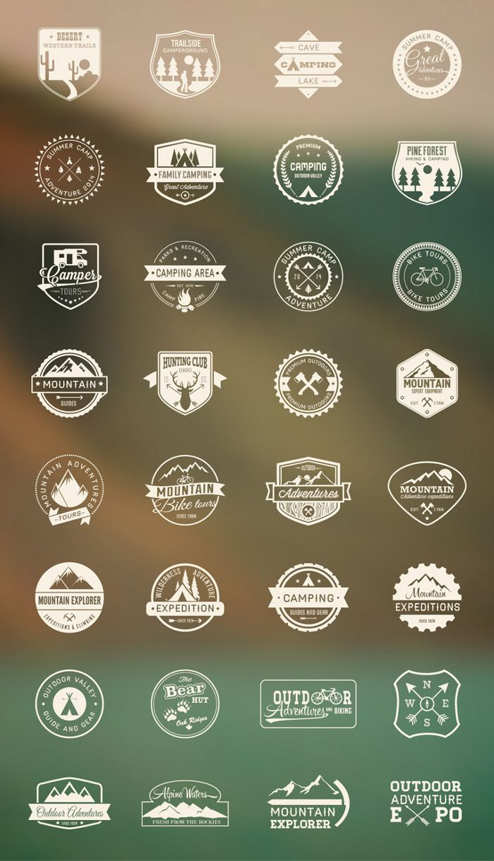 Outdoor / Camping Icon set Camping icons, Outdoor logos