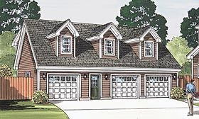 Traditional Style 3 Car Garage Apartment Plan Number with 2 Bed 2 Bath