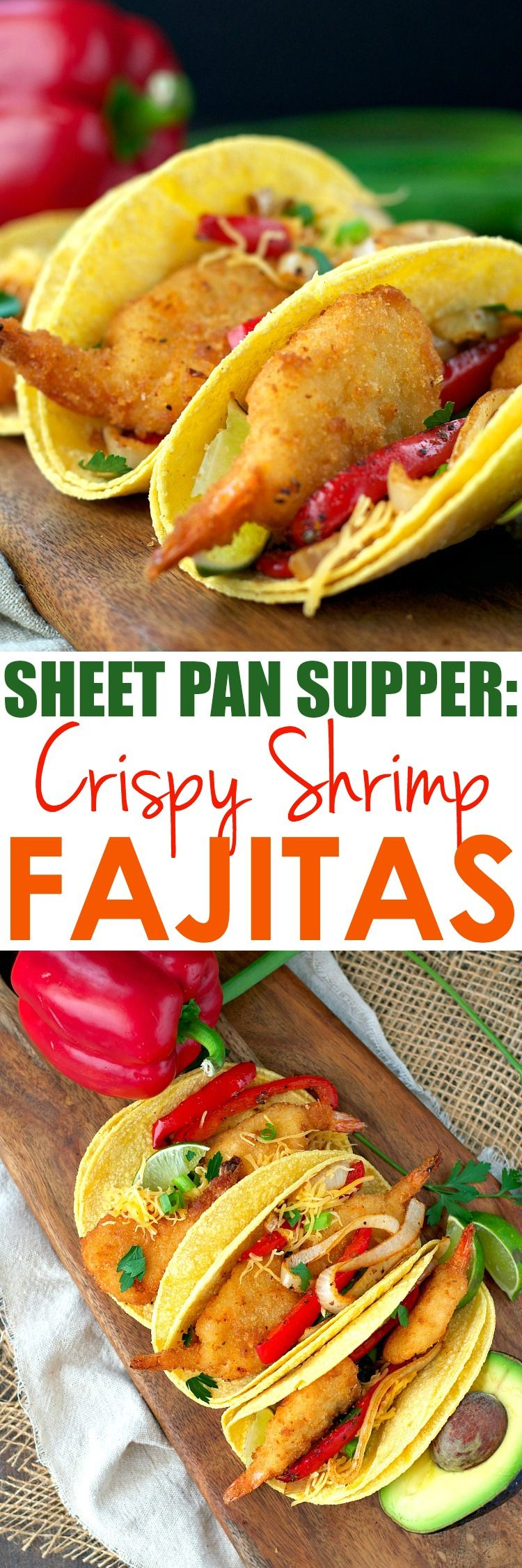 These oven-baked Crispy Shrimp Fajitas are an easy dinner that cooks entirely on one tray -- with only 5 minutes of prep! #ad