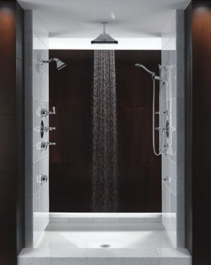 rain head in middle and shower heads on both sides | our master ...