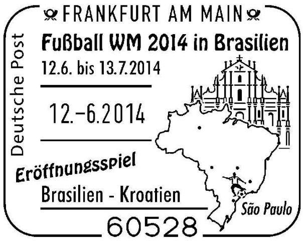 Sonderstempel für Luftpost zum Eröffnungsspiel der WM 2014