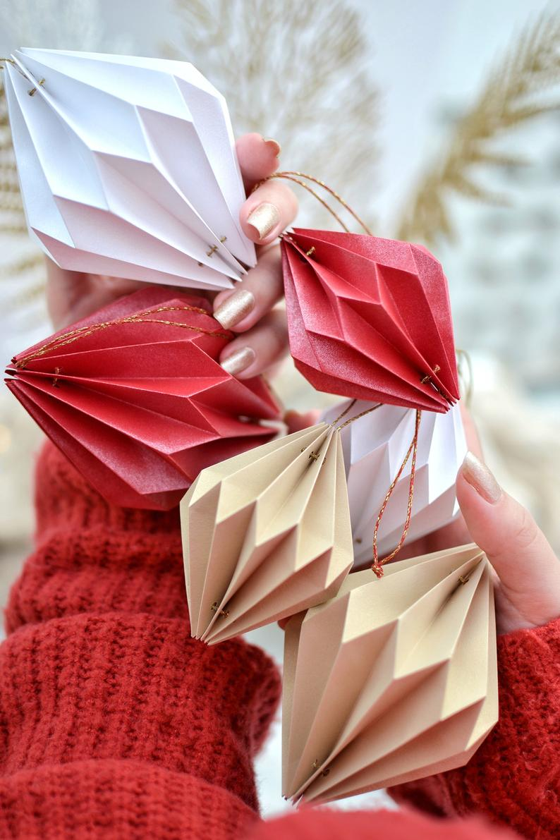 Origami Christmas Ornament Luxury Unique Geometric Origami Christmas Tree Ball For Christmas New Year Event Celebration Party Classic Origami Christmas Ornament Origami Christmas Tree Christmas Origami