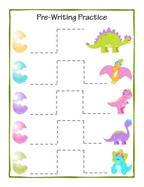 dinosaur theme pre writing printables (3) | nachspuren | Pinterest