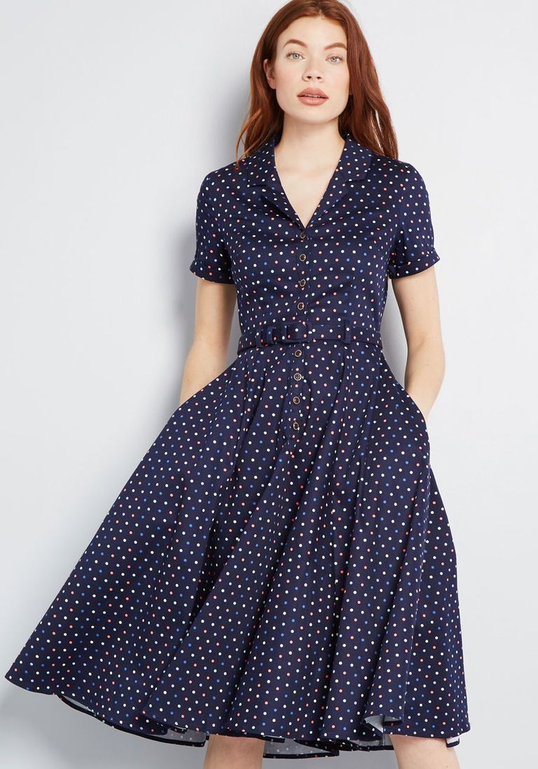 a839d4c14d36 Collectif x MC Cherished Era Shirt Dress in 30 (UK) - Short Sleeves Fit &  Flare Knee by Collectif from ModCloth