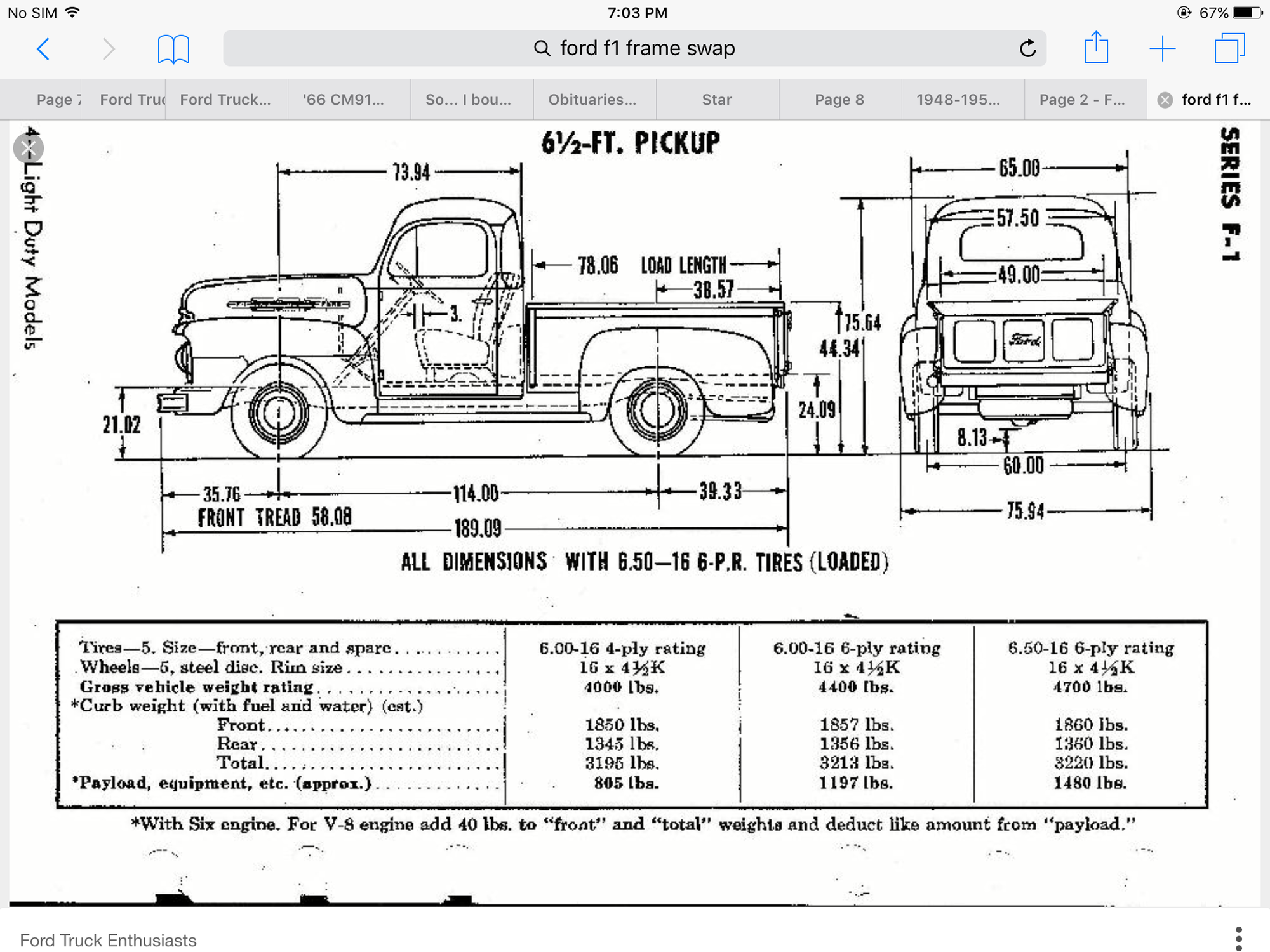 1948 1950 F1 Frame Swap Measurements Ford Truck Enthusiasts Forums 1948 Ford Truck Trucks Ford Truck
