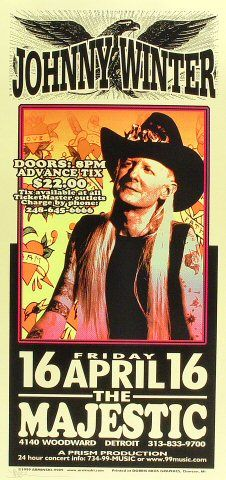 Johnny Winter Poster from Majestic Theatre on April, 1999