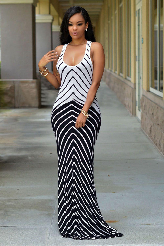 58b303d22e Boldgal Black Partywear Club Western Stripe Evening Maxi Dress Stripped Maxi  Dresses, White Maxi Dresses