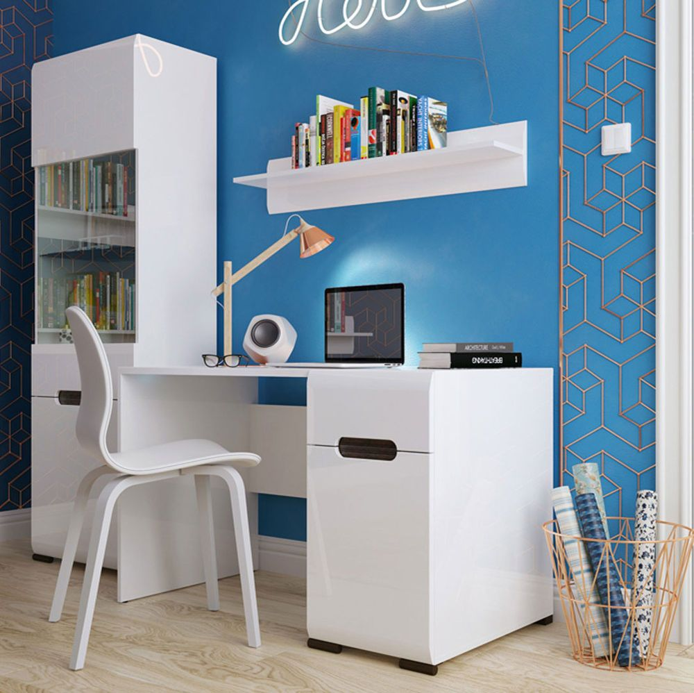 Captivating HIGH GLOSS WHITE Home Office Furniture Set 4 Items | Modern Desk AZTECA