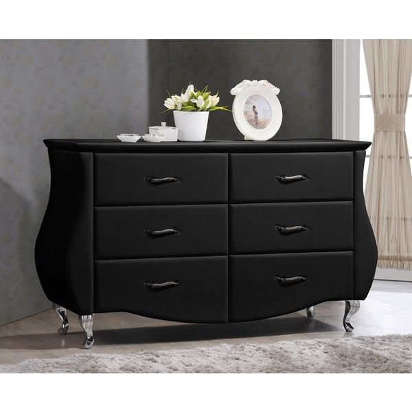 Enzo Modern And Contemporary Black Faux Leather  Drawer Dresser