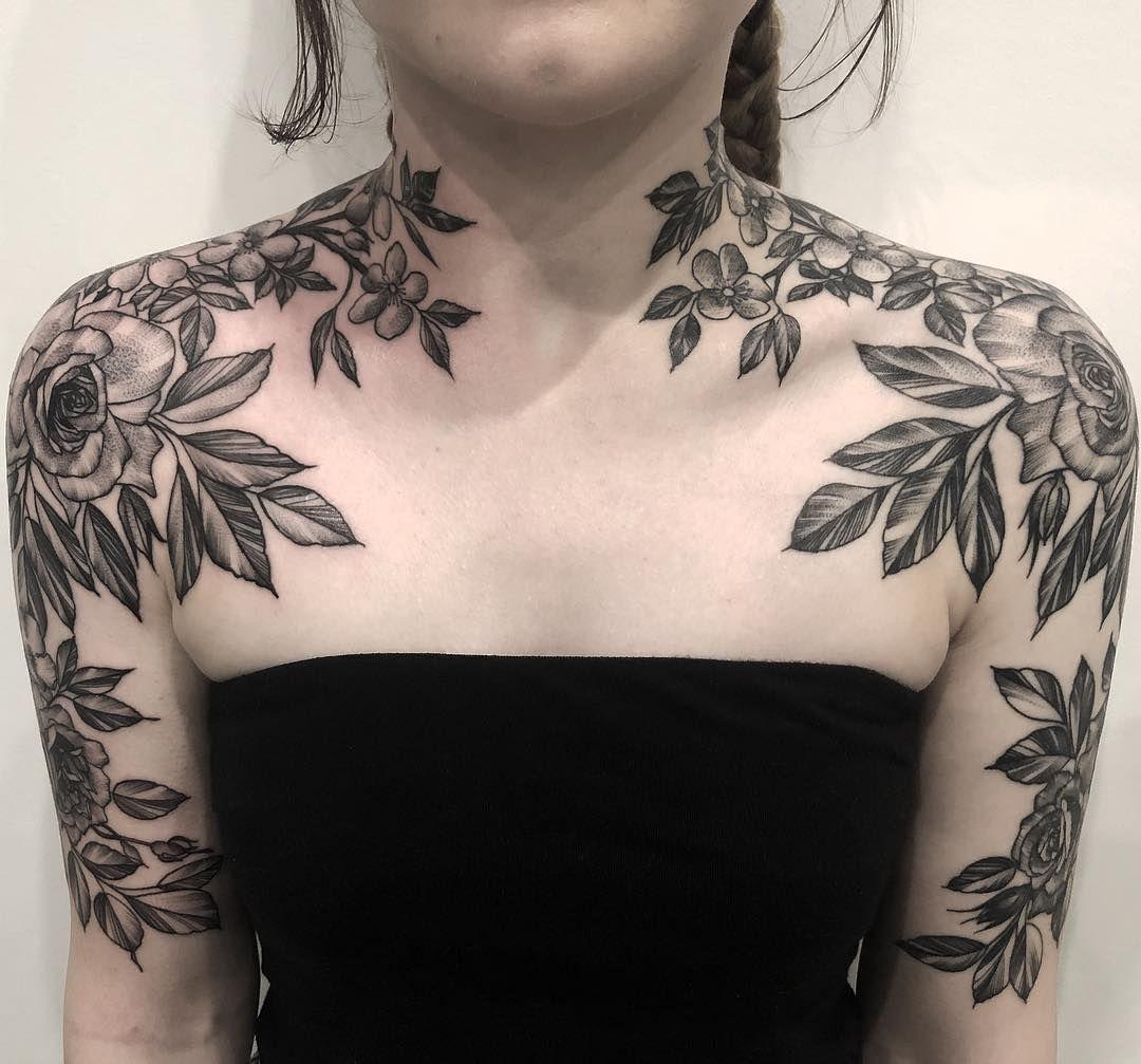 One Side Healed One Fresh Alfredstreettattoo Neck Tattoos Women Chest Tattoos For Women Chest Piece Tattoos