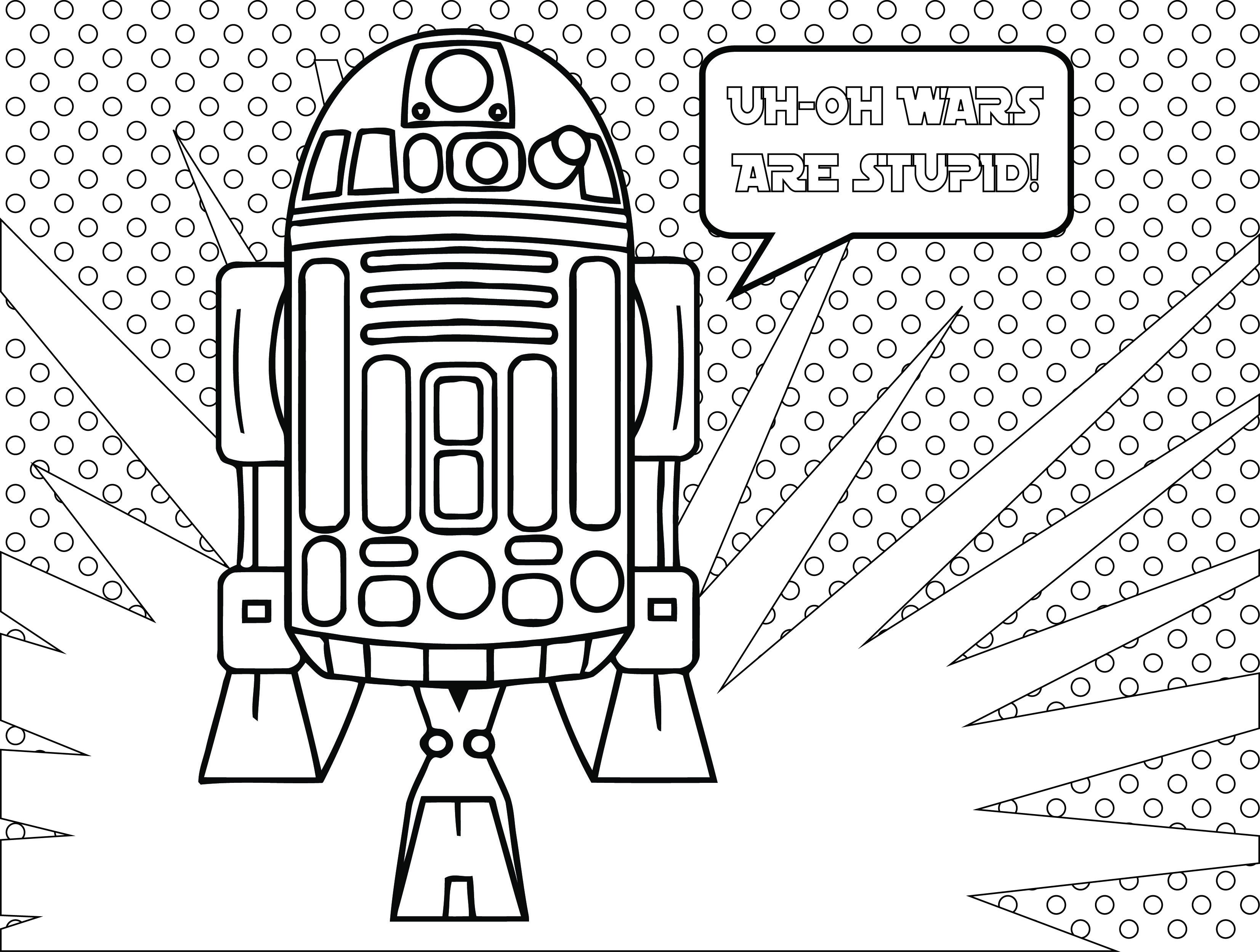 Ausmalbilder Kostenlos Star Wars : Star Wars Fall Of The Resistance Coloriage R2d2