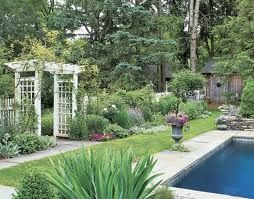 Poolside garden and pergola