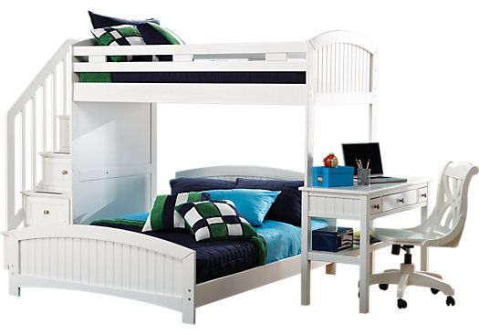 Cottage Colors White Twin Full Step Loft W Desk Grace S Room
