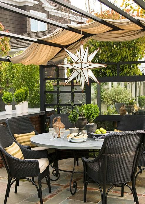 Loving the outdoor-sy feel! Outdoor-friendly fabric draped ...
