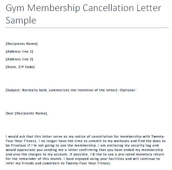Sample Gym Cancellation Letter