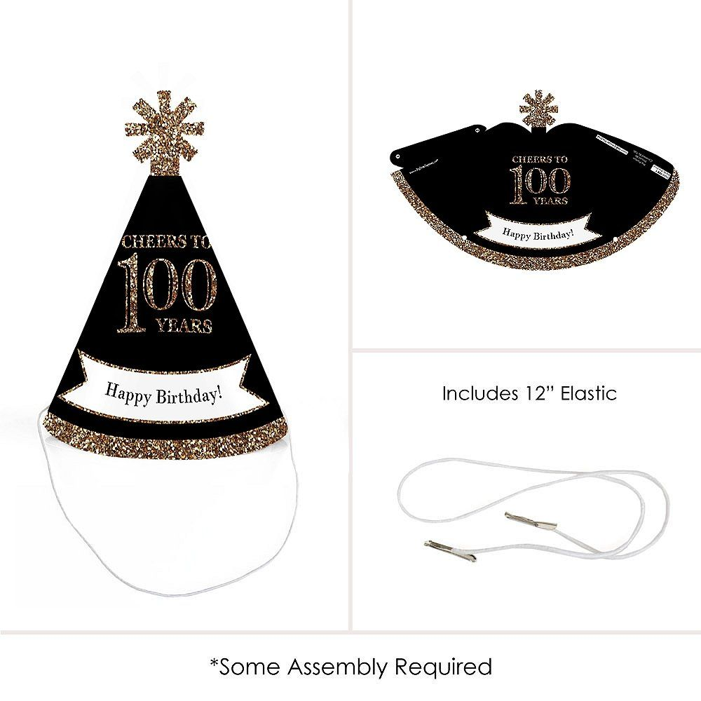 Adult 100th Birthday Gold Mini Cone Party Hats Small Little Set Of 10