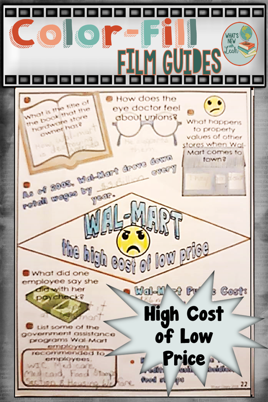 Walmart The High Cost Of Low Price Color Fill Film Guide Doodle Notes Doodle Notes School Notes I School [ 1408 x 941 Pixel ]
