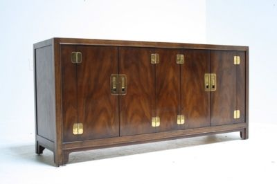 CAMPAIGN CREDENZA WITH BRASS HARDWARE : Scout Design Studio
