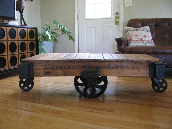 beautifully refurbished  restored antique lineberry div  industrial  railroad  factory cart coffee