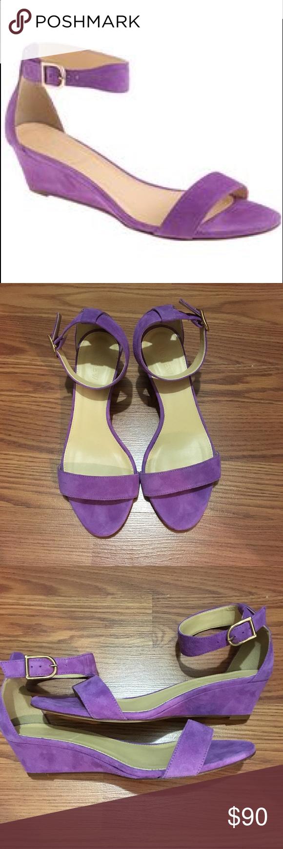 74753871625 J Crew Lillian suede wedge sandals 7.5 1 3 4