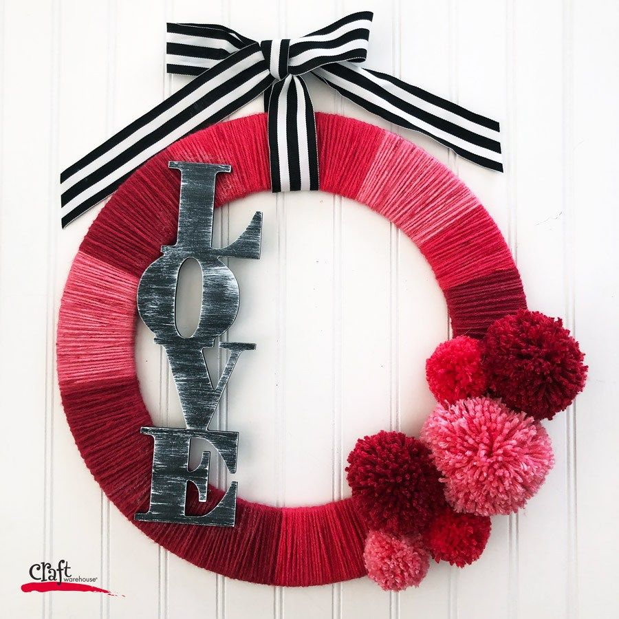 Make This Yarn Valentine S Pom Pom Wreath Craft Warehouse Design