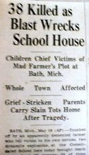 1927 newspaper BATH SCHOOL DISASTER Michigan WORST MASS MURDER in a