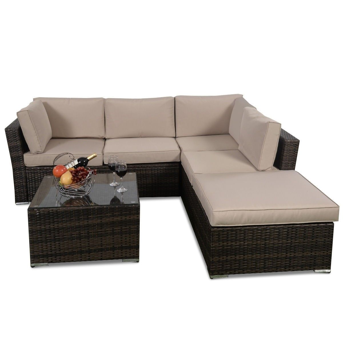 pcs Wicker Cushioned Seat Sofa Furniture Set in For the