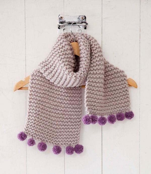 Pompom scarf | crochet | Pinterest | Tejido, Dos agujas y Patrones ...