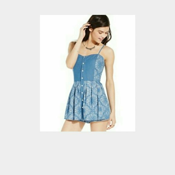 American Rag Chambray Paisley Mini Dress Romper Breathtaking Peplum Romper by Jessica Simpson, Peplum skirt, can be worn strapless or with detachable straps (included). Dress up or down. Scuba material is super stretchy. Back zip, black with hot pink, light pink and lavender flowers. Great for the holidays with a statement necklace and pumps. American Rag Dresses Mini