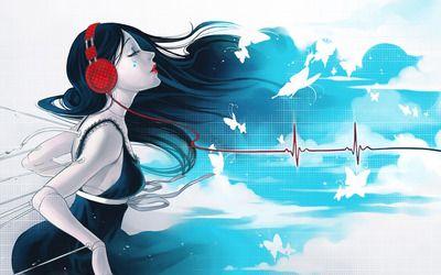 Girl enjoying music Wallpaper
