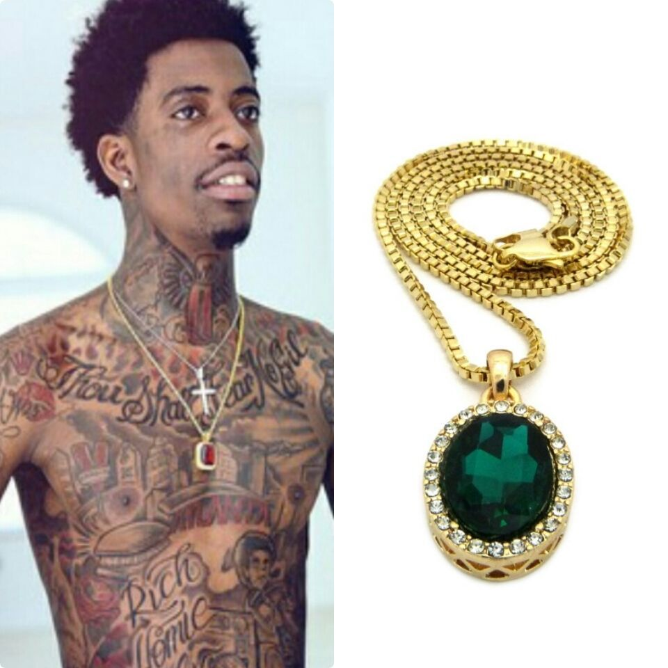 Iced out green pendant gold chain necklace hiphop rick ross ruby iced out green pendant gold chain necklace hiphop rich homie quan ruby mens rd box mozeypictures Choice Image