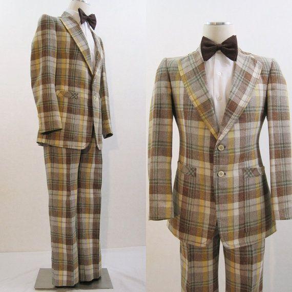 60s 70s Suit Vintage Men's Plaid Flared Jacket & Pants Alton Ames ...
