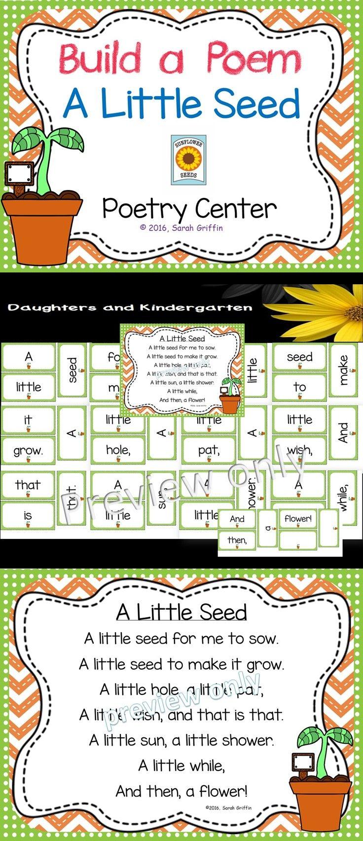 build a poem a little seed pocket chart center kids building literacy and kindergarten. Black Bedroom Furniture Sets. Home Design Ideas