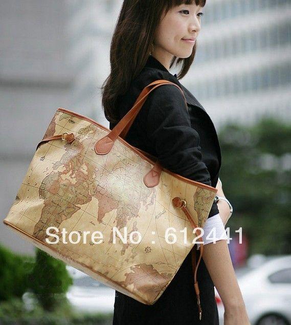 Frete Grátis Designer de Moda de Nova PU Couro Impresso Mapa mulher bolsa bolsa de ombro bolsa