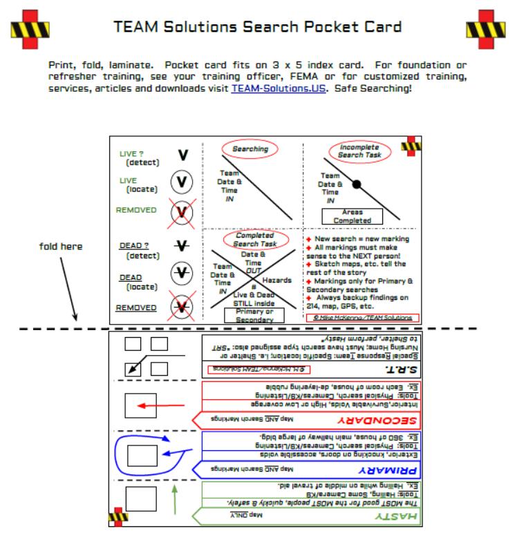 search  u0026 rescue pocket card