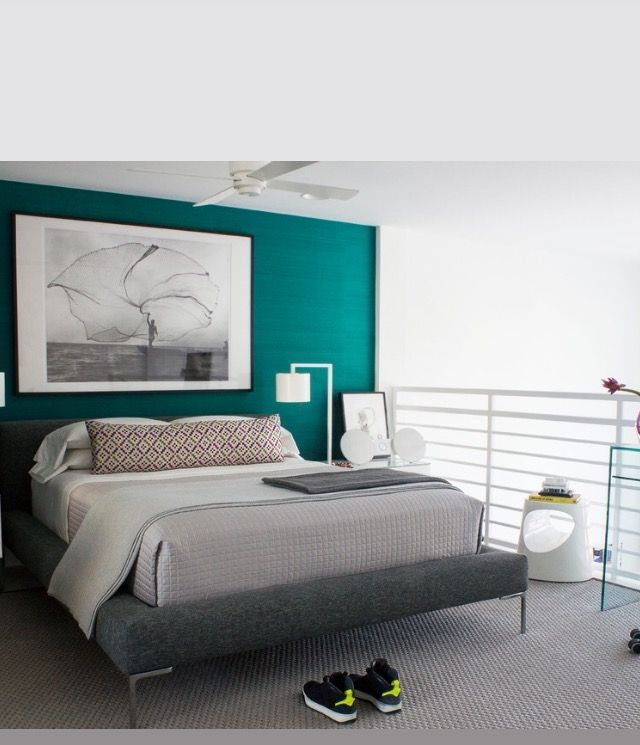 Pin by M E T R I C on bedroom   Accent wall bedroom, Green ...