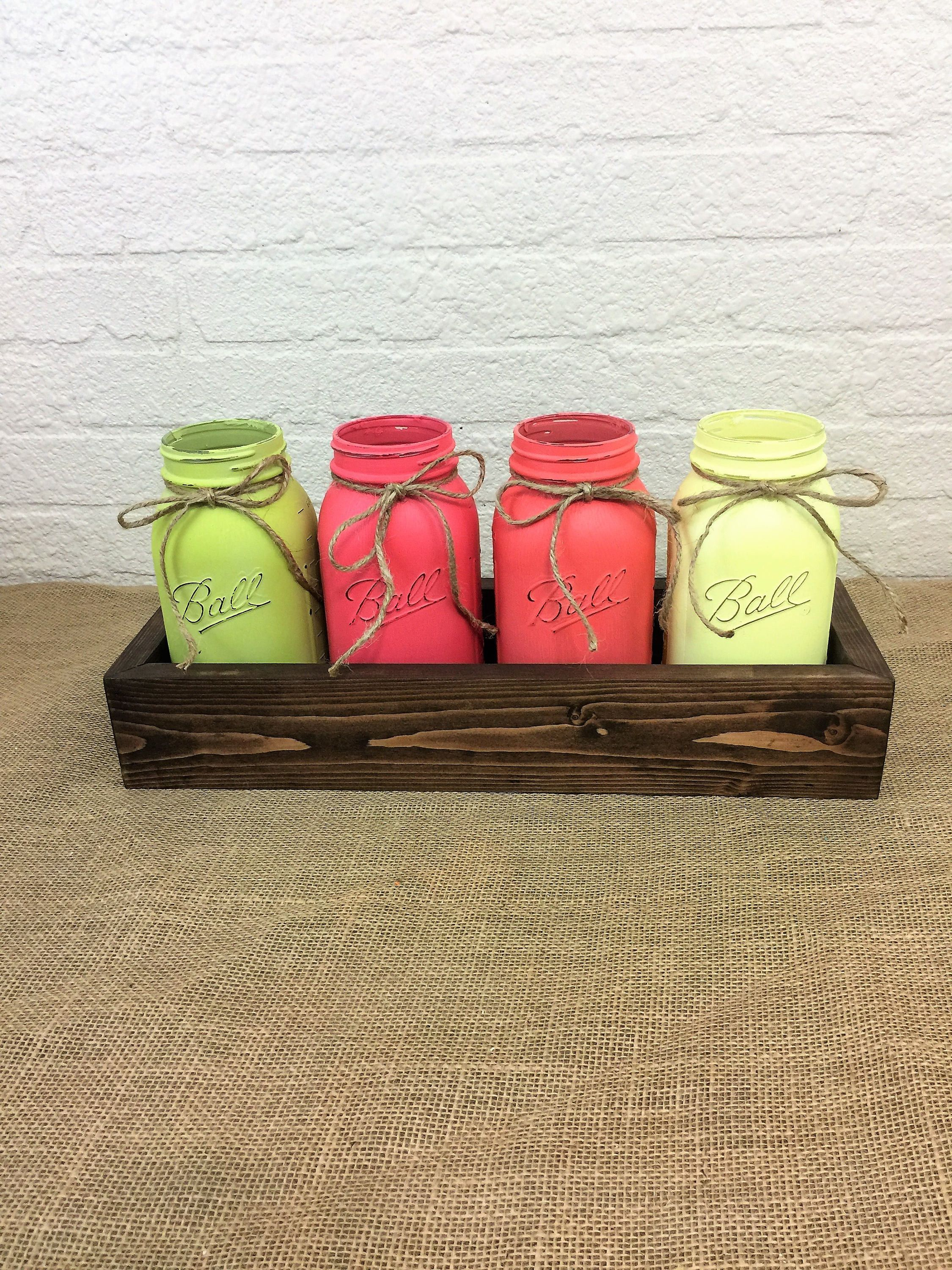 Coral garden quart mason jar planter box centerpiece planter box