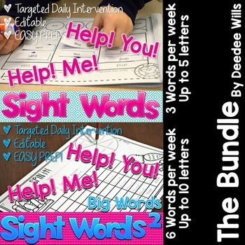 Sight words interventions and more. This products allows YOU to select the sight words you want to focus on. Target student instruction to THEIR needs with 6 focus words per page that you program in.