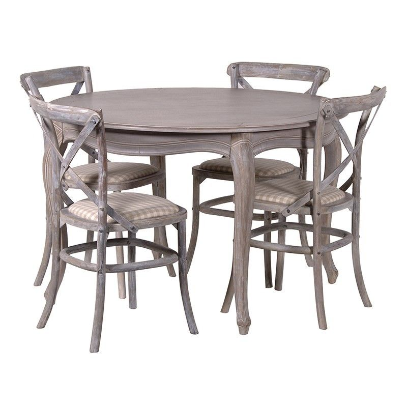 Belfort Grey Lime Washed Round French Dining Table French Dining