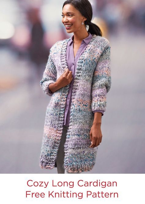Cozy Long Cardigan Free Knit Pattern Red Heart Yarn Collage