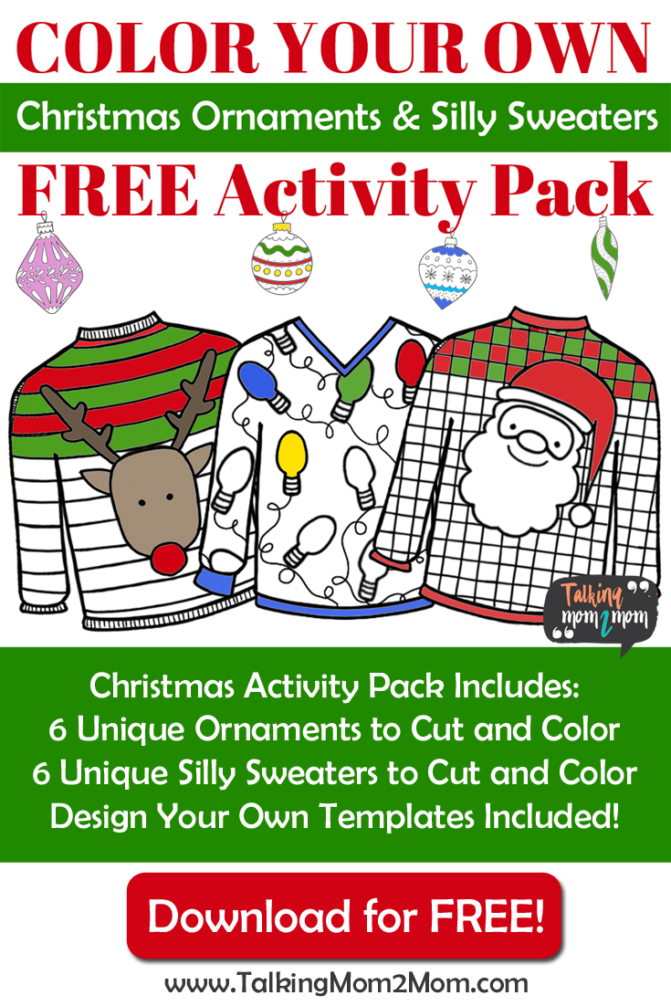 Color Your Own Christmas Ornament and Silly Holiday Sweaters FREE ...